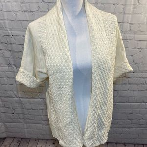RUBY RD Ivory Drape Front Cardigan